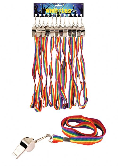 Rainbow Cord Whistle Gay Pride Party Favour